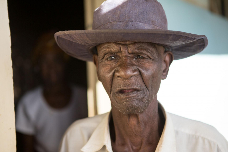 An old man in a rest home in Africa